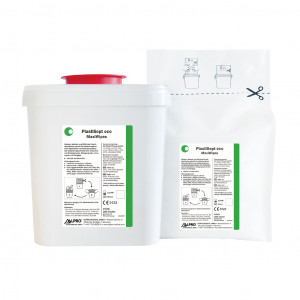 Das Produkt Alpro PlastiSept eco Maxi Wipes StarterSet 4740, aldehyd- und phenolfrei, VAH zertifiziert, gebrauchsfertig, fusselfrei aus dem Global-dent online shop.