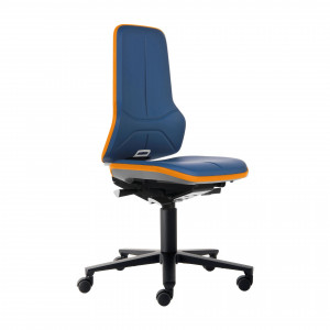 Das Produkt BIMOS Neon 2 Arbeitsstuhl, Synchrontechnik, Ergonomiepaket, Flexband Orange, Kunstleder Polsterelement Blau 9573 3279 9588 MG02 aus dem Global-dent online shop.