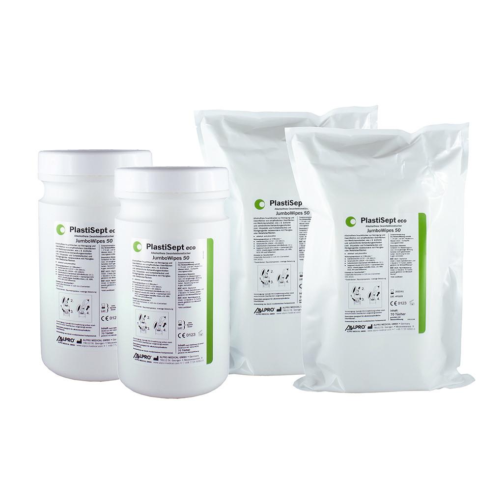Das Produkt Alpro PlastiSept eco Jumbo Wipes 50 4625 aus dem Global-dent online shop.