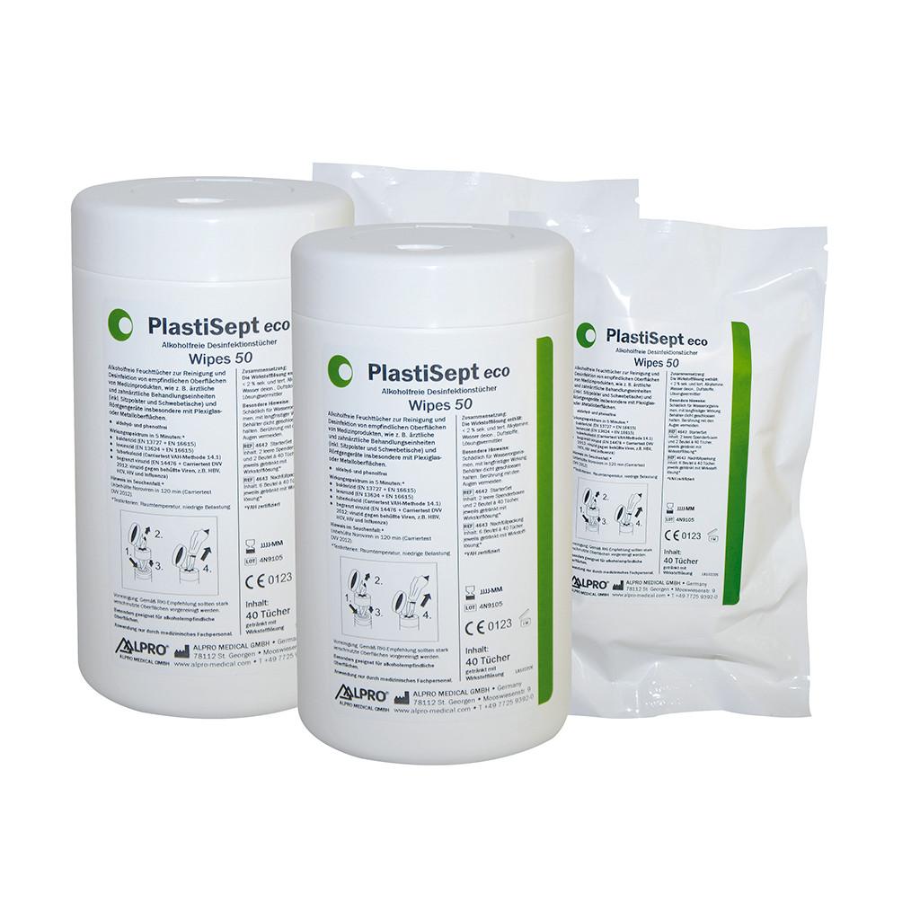 Das Produkt Alpro PlastiSept eco Wipes 50, VAH zertifiziert 4642 aus dem Global-dent online shop.