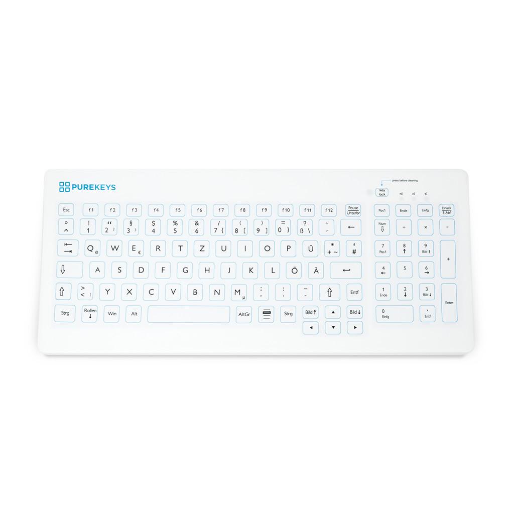 PUREKEYS Medizinische Tastatur Kompakt, IP 66-Weiß-Kabellos 40404900