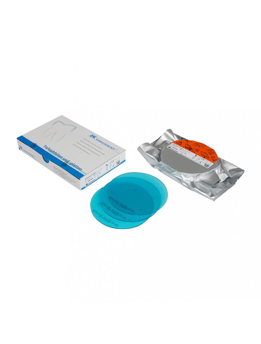 Erkodent Erkodur Tiefziehfolie freeze türkis-transparent, 2 mm, 10 Stück 529120