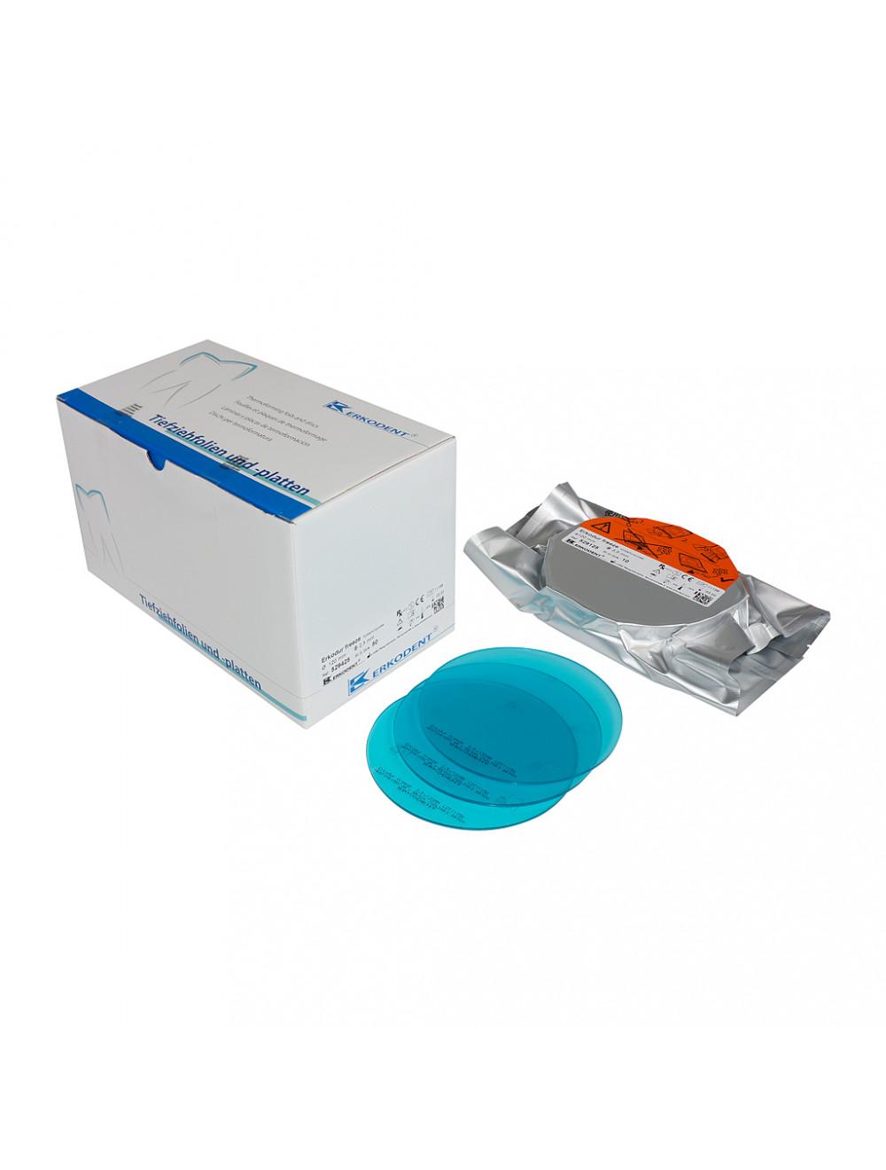 Erkodent Erkodur Tiefziehfolie freeze türkis-transparent, 1,5 mm, 50 Stück 529415