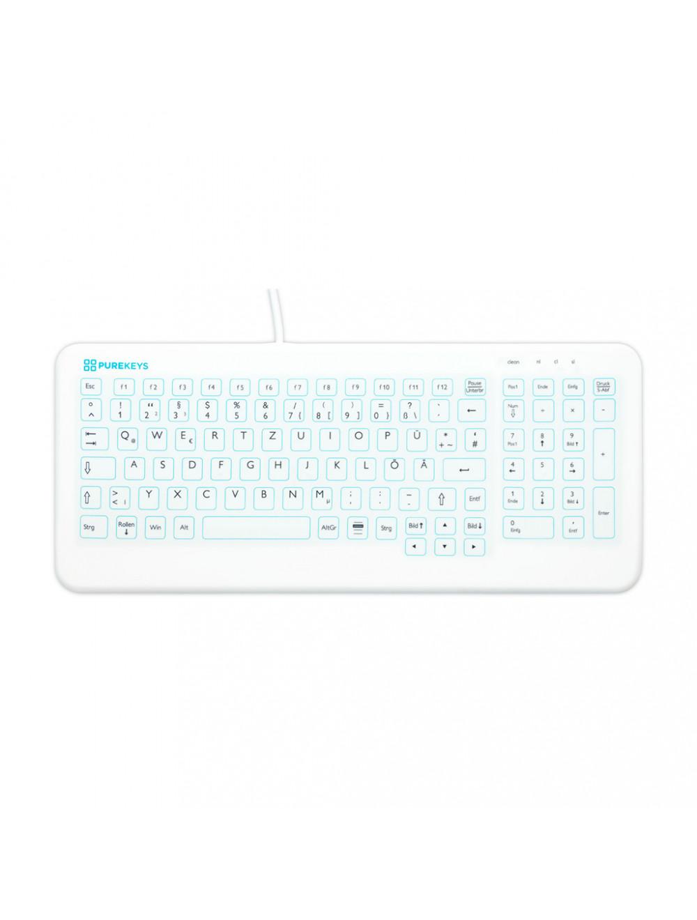 Das Produkt PUREKEYS Medizinische Tastatur Flach für Arztpraxen, IP 66 Schutzklasse, USB-Anschluss, QWERTZ,  30004900 aus dem Global-dent online shop.