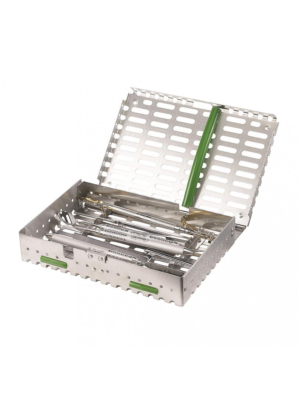 Das Produkt SciCan Kassette für die Reinigung, Sterilisation und Lagerung von Instrumenten, verschiedene Größen und Anwendungen aus dem Global-dent online shop.